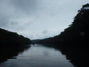 しとしと降る雨のカヌー