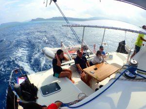 ヨットの上でキムチ鍋